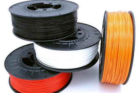 PETG Filamente, Variation von Coal Black, Traffic Red, Sweet Orange und Traffic White