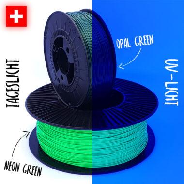Comparison Green Filaments Vergleich grüne Filamente