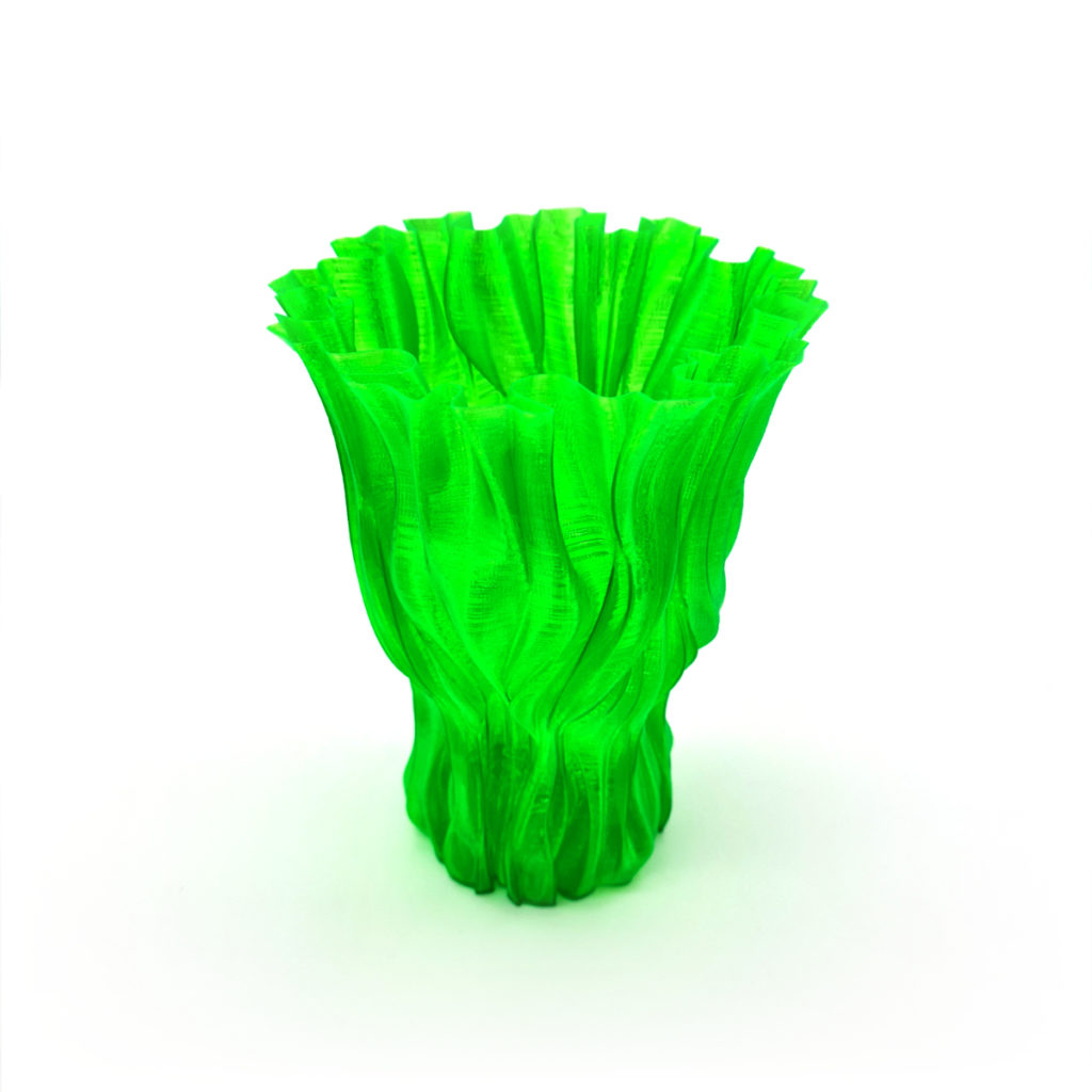 vase petg transparent green side
