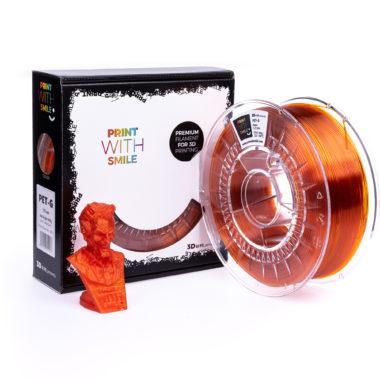 Print With Smile Premium PETG Orange Glass Filament, 1.75 PWS, transparent orange