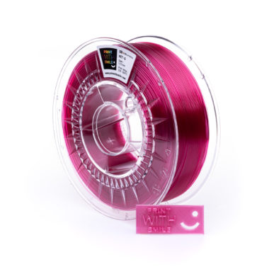 Print With Smile Premium PETG raspberry pink Filament, 1.75 PWS, transparent pink